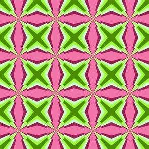 Green stars on pink.