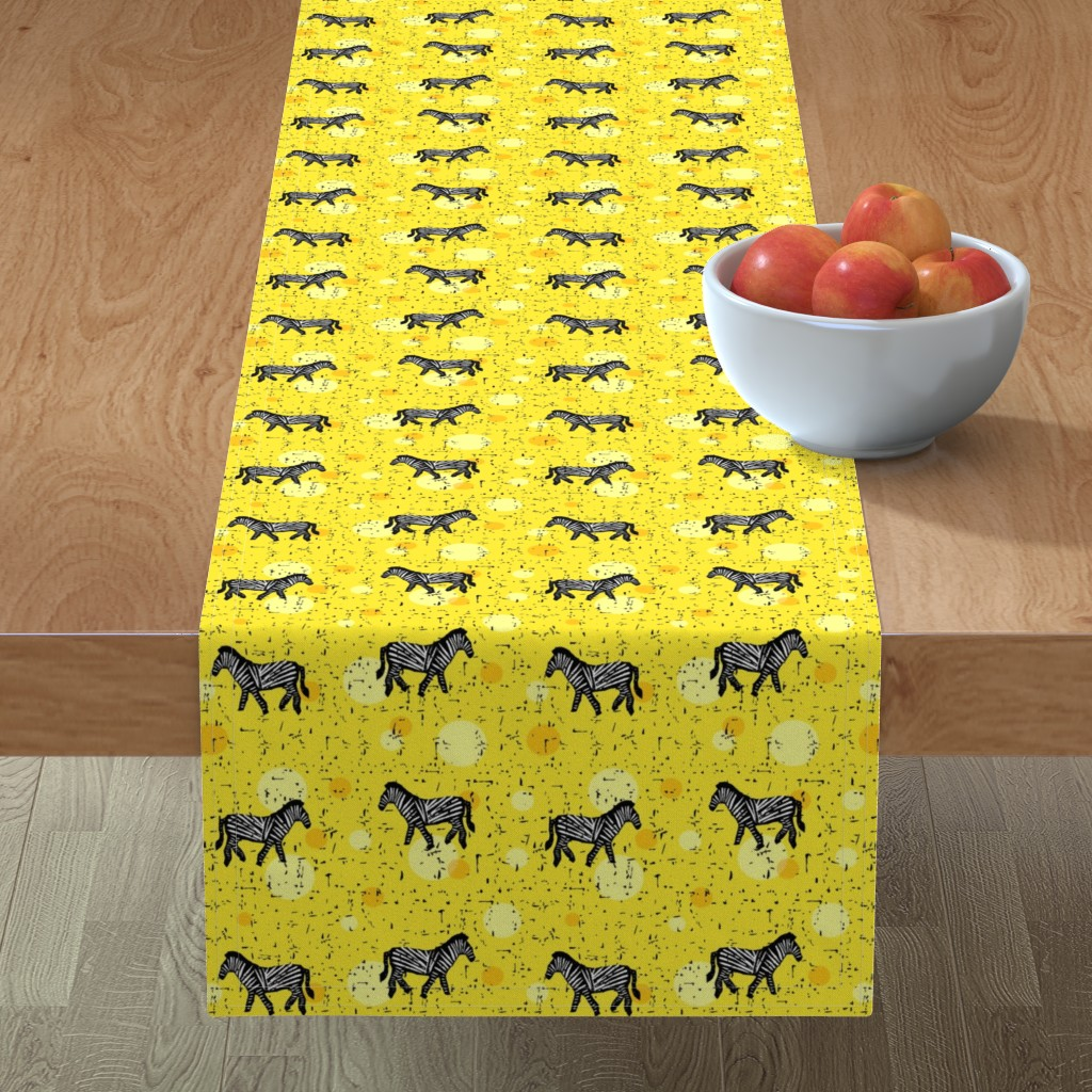 Minorca Table Runner featuring Zebras on yellow by lucy_&_me