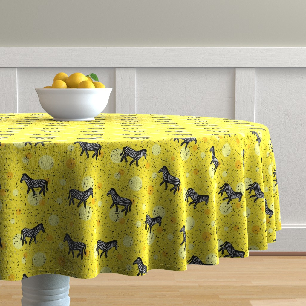 Malay Round Tablecloth featuring Zebras on yellow by lucy_&_me