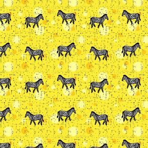 Zebras on yellow