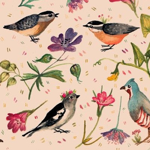Birds and wildflowers pinky - small scale