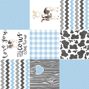 Farm//Love you till the cows come home - baby blue - Wholecloth Cheater Quilt - Rotated