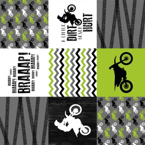 Motocross//A little Dirt Never Hurt - Lime - Wholecloth Cheater Quilt - Rotated
