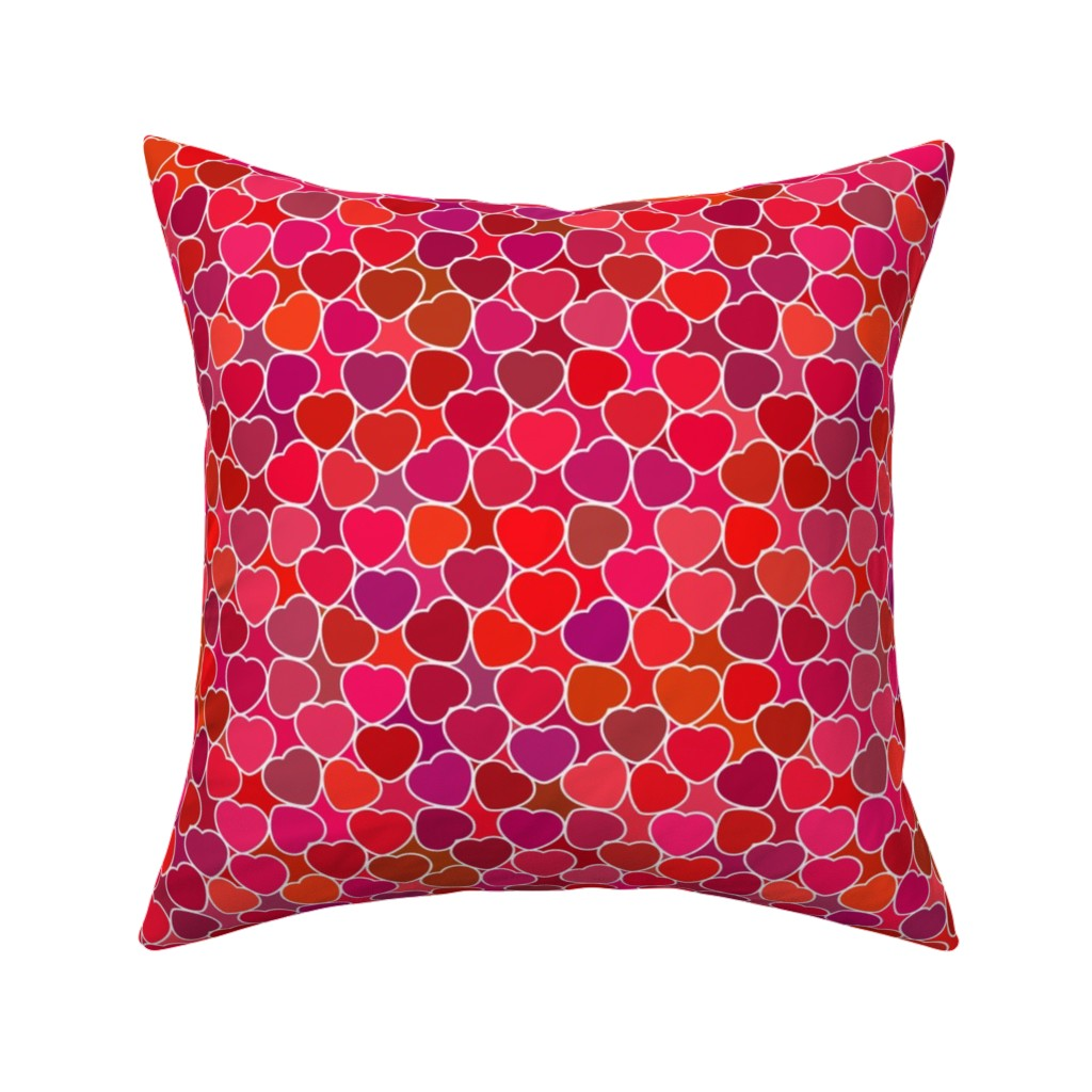 Catalan Throw Pillow featuring Hearts about Love Romantic Pattern by dacascas