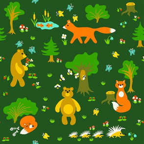 Cute foxes and bears in the woodland pattern