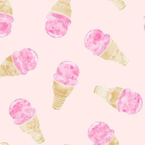watercolor ice-cream cones on pale pink