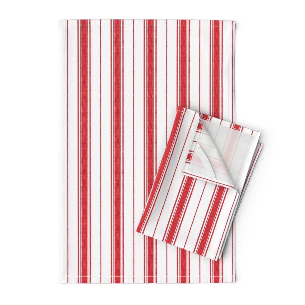 Orpington Tea Towels featuring Chevron Stripe in Rouge by gigi&mae