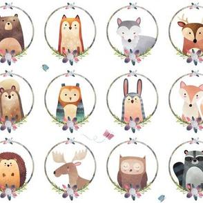 Woodland Critter Faces (pink flower) Baby Nursery Animals, Bear Wolf Fox Moose Owl Raccoon Hedgehog, GingerLous SMALL SCALE