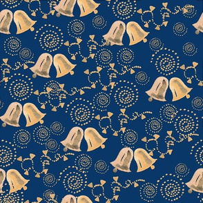 Watercolor Christmas bells on blue