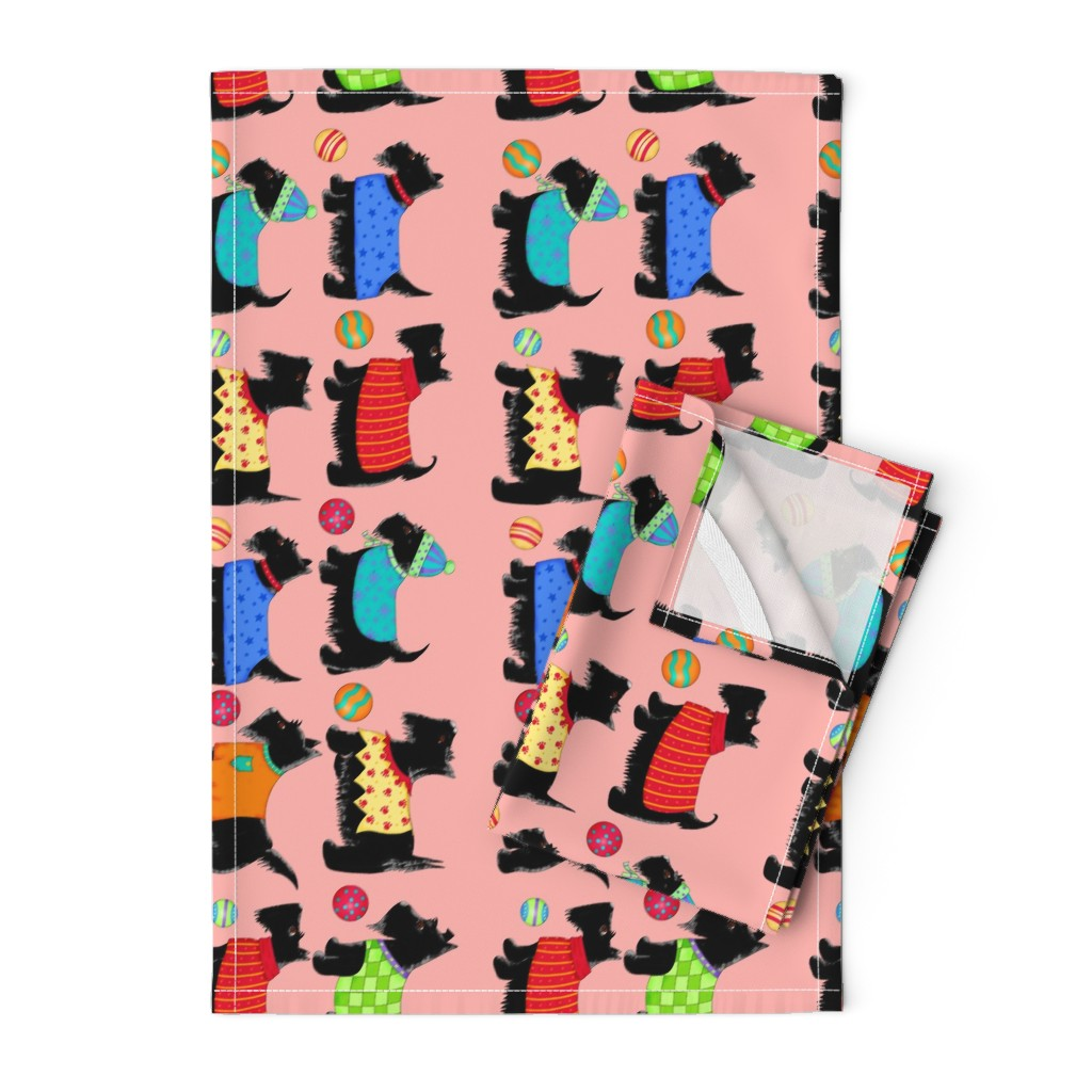 Orpington Tea Towels featuring Scotties In A Row Coral by phyllisdobbs