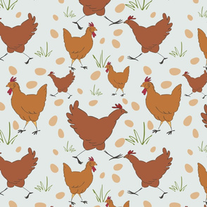 Chooks on light grey