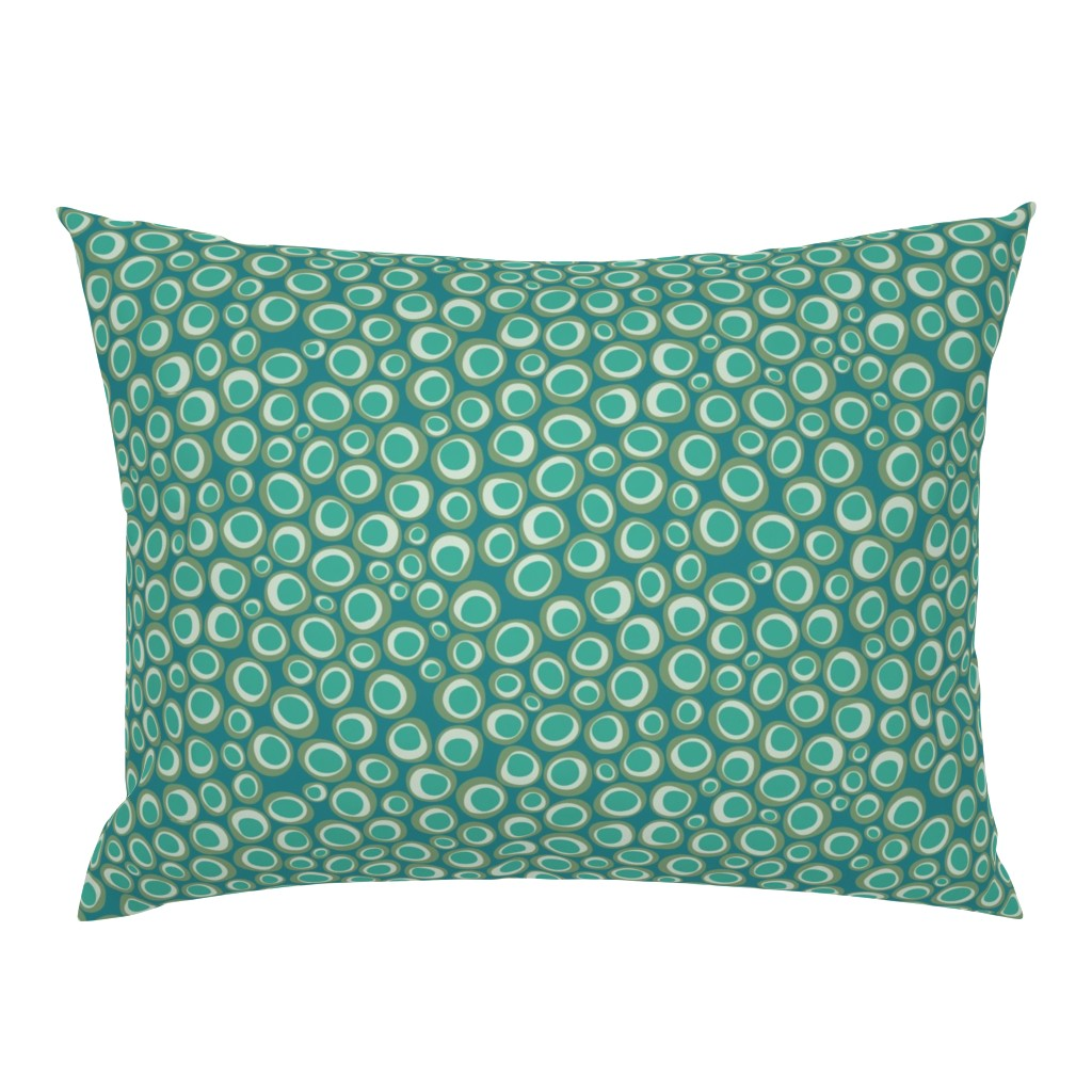 Campine Pillow Sham featuring Animal Markings Circles  aqua by colour_angel_by_kv