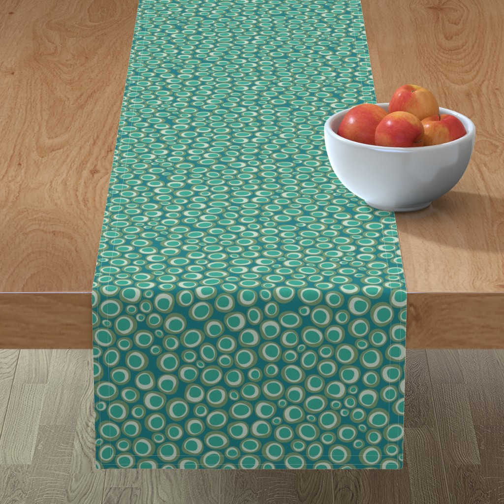 Minorca Table Runner featuring Animal Markings Circles  aqua by colour_angel_by_kv