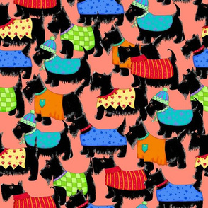 Scotties Whimsy Dogs Packed  Orange
