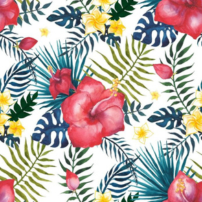 Hibiscus watercolor floral pattern
