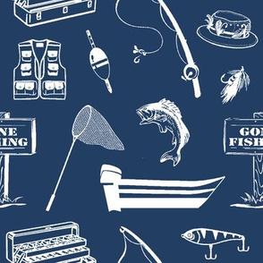 Gone Fishin' // Navy Blue // Large