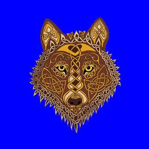 Celtic Wolf Face on Blue