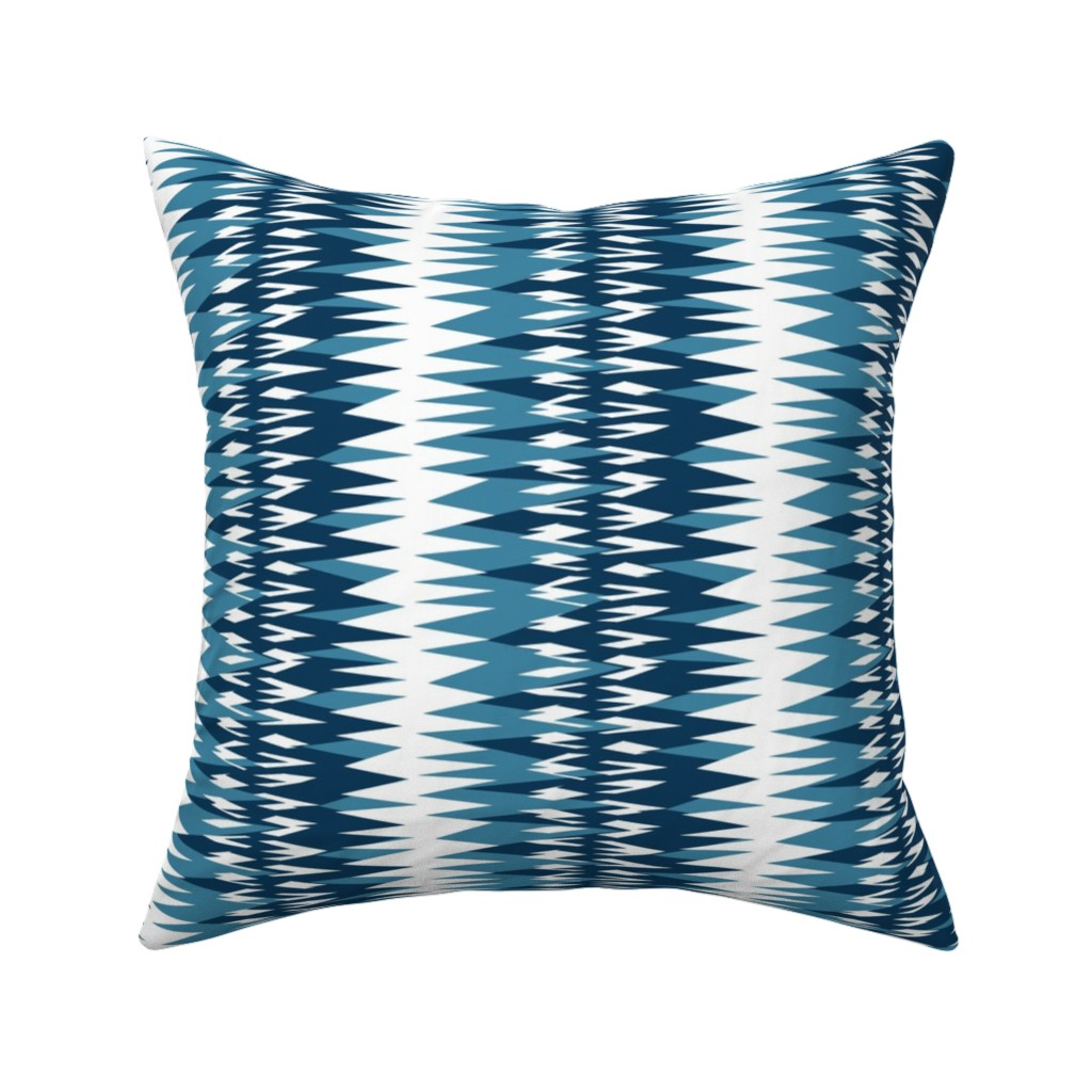 Catalan Throw Pillow featuring zigzag in blue and white by variable