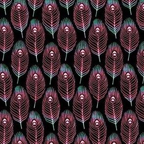Peacock Feather 1 Black Neon