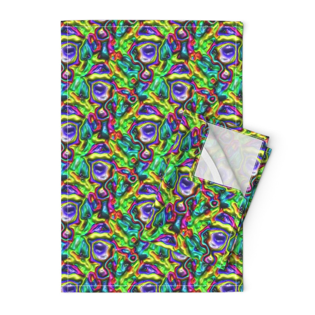 Orpington Tea Towels featuring DISCO GLOSSY ABSTRACT SHAPES PURPLE AQUA TURQUOISE FUCHSIA by paysmage