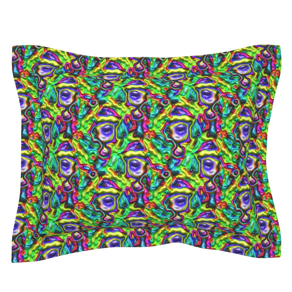 Sebright Pillow Sham featuring DISCO GLOSSY ABSTRACT SHAPES PURPLE AQUA TURQUOISE FUCHSIA by paysmage
