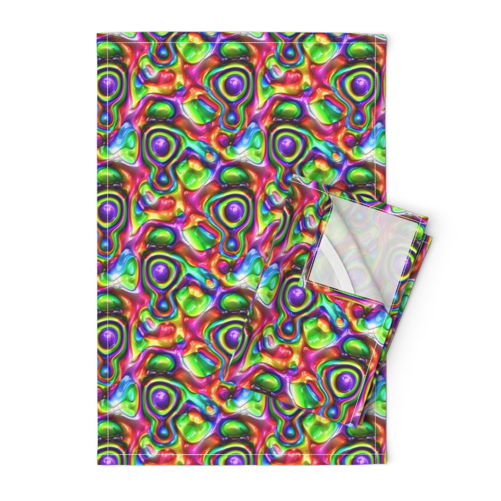 Orpington Tea Towels featuring DISCO GLOSSY ABSTRACT SHAPES PURPLE GREEN RED by paysmage