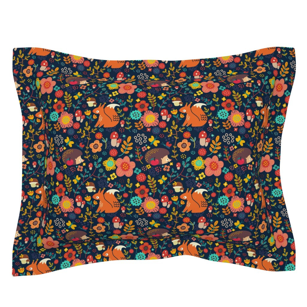 Sebright Pillow Sham featuring Animals of my forest by toy_joy