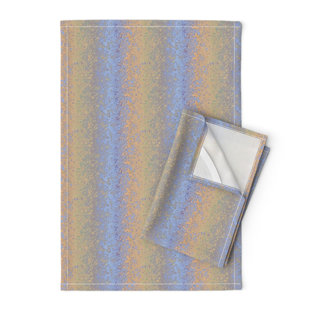 Orpington Tea Towels featuring CHAOS PEBBLES MARBLE 7 stripes  LAVENDER BLUE HONEY BEIGE by paysmage