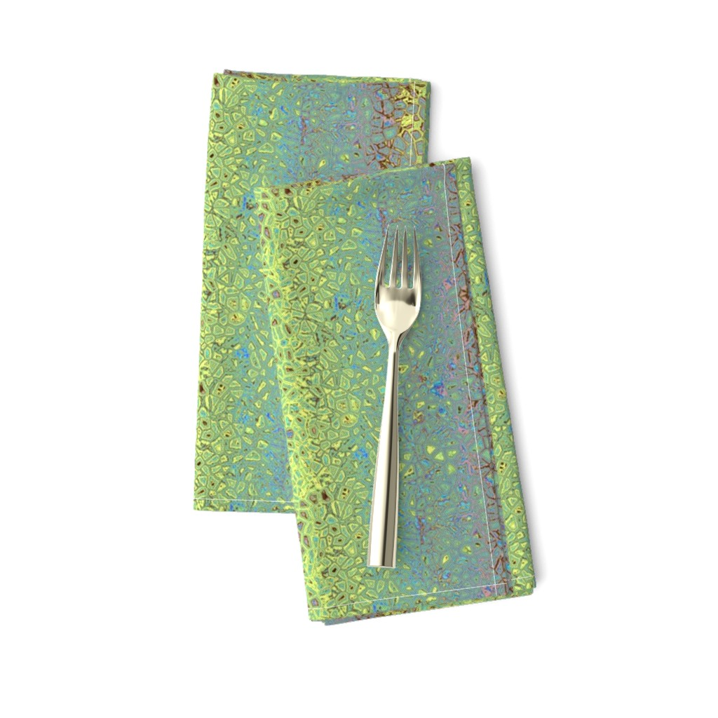 Amarela Dinner Napkins featuring CHAOS PEBBLES MARBLE 16 stripes TEAL AQUA GREEN DRAGONFLY TURTLE by paysmage