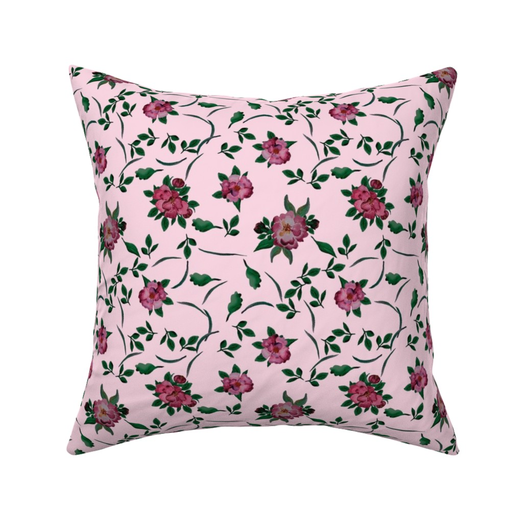 Catalan Throw Pillow featuring Watercolor pink peonies by katrinkastem