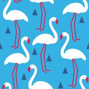 red white and blue flamingos