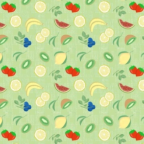 fruit fabric mint green