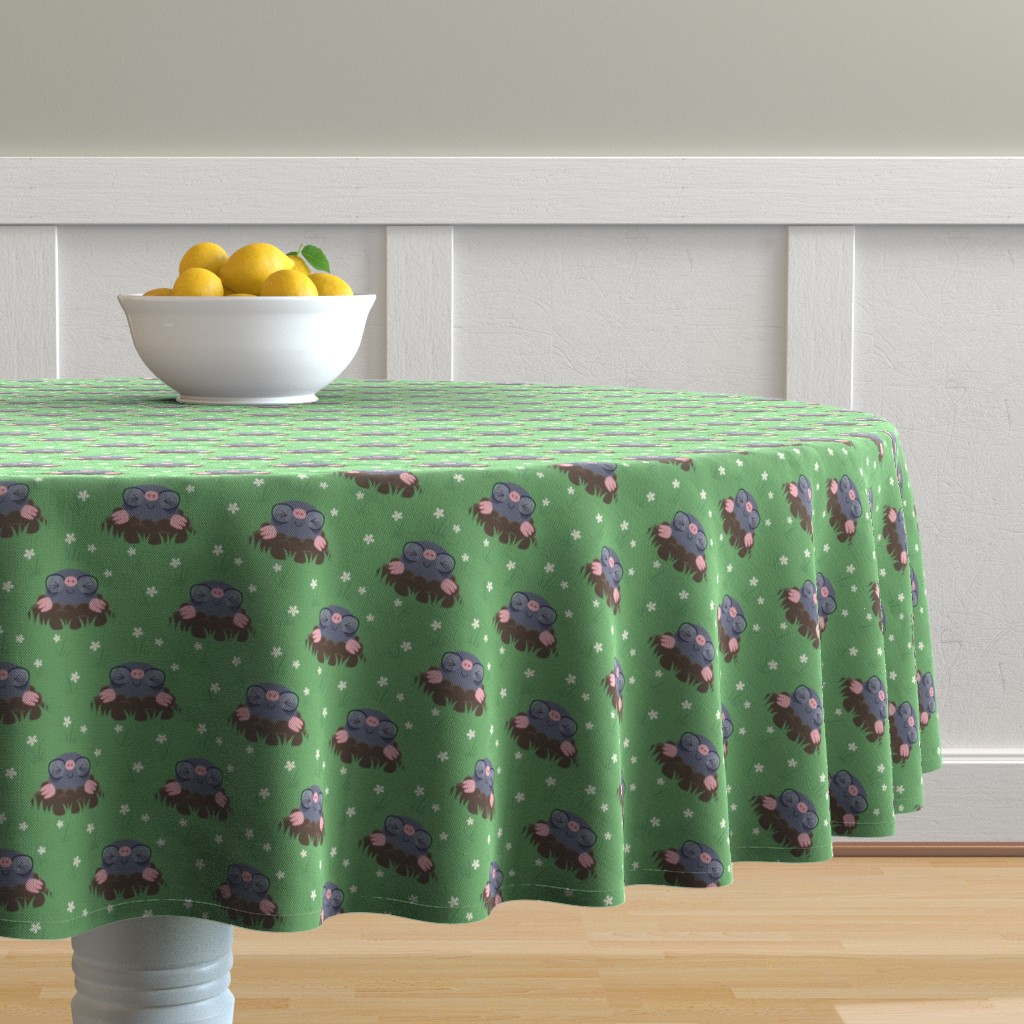 Malay Round Tablecloth featuring Cute little moles by petitspixels
