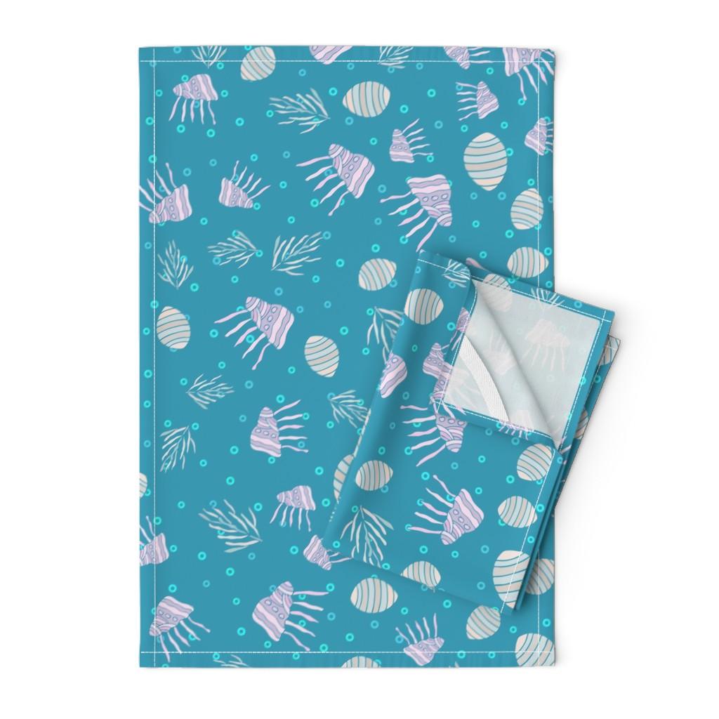 Orpington Tea Towels featuring Sea life pattern1 by tashakon