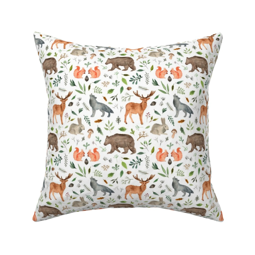 Catalan Throw Pillow featuring watercolor woodland animals by alenaganzhela