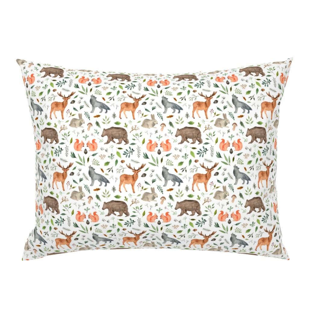 Campine Pillow Sham featuring watercolor woodland animals by alenaganzhela