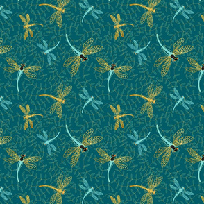 Gilded Dragonflies-blue