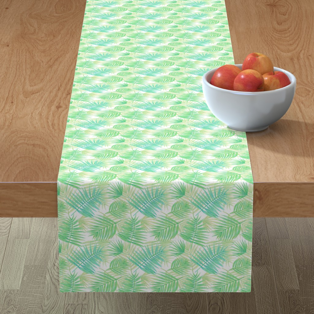 Minorca Table Runner featuring palm leaves by alenaganzhela