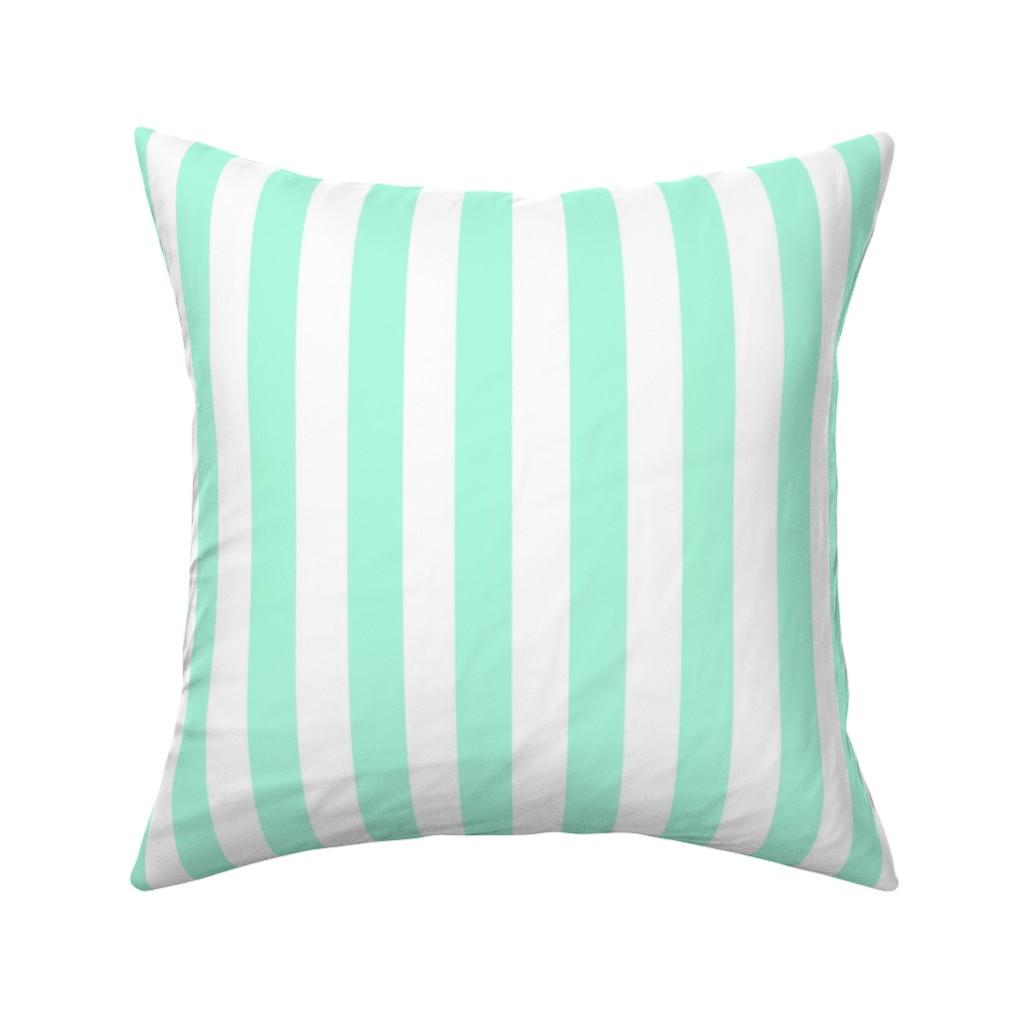 Catalan Throw Pillow featuring Cabana Stripes in Mint by elliottdesignfactory