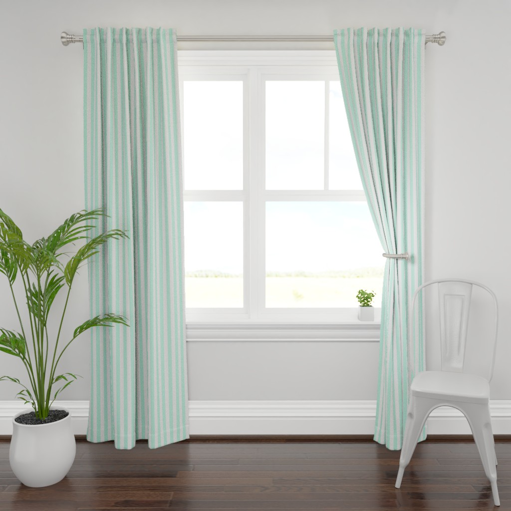 Plymouth Curtain Panel featuring Cabana Stripes in Mint by elliottdesignfactory
