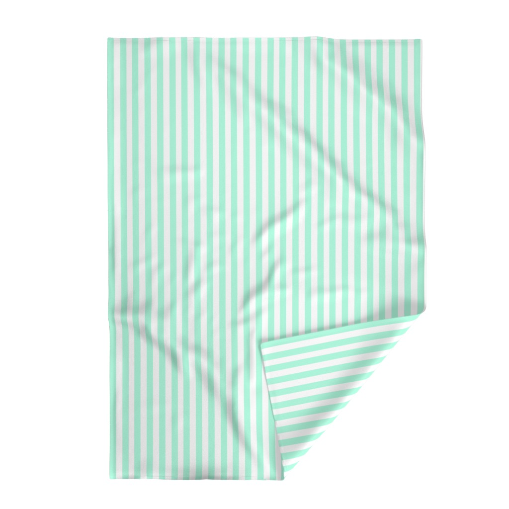 Lakenvelder Throw Blanket featuring Cabana Stripes in Mint by elliottdesignfactory