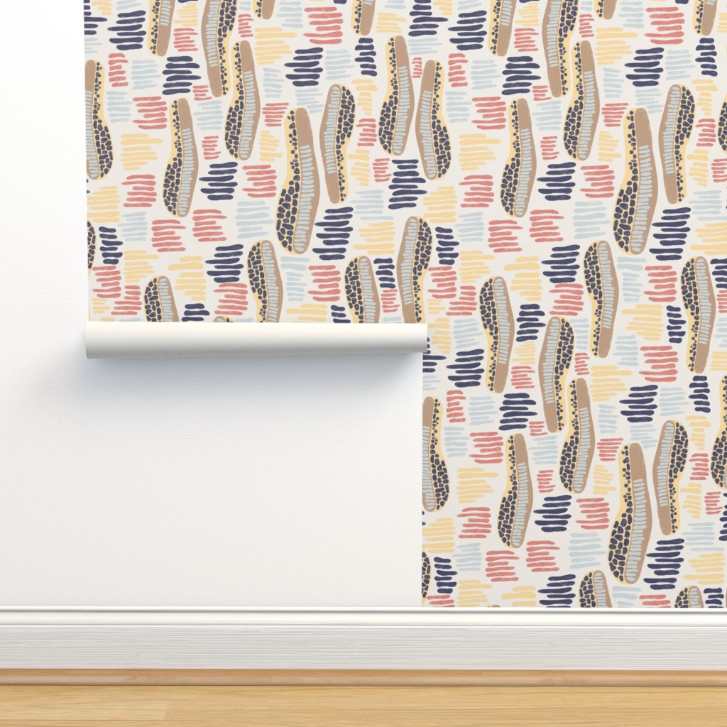 Isobar Durable Wallpaper featuring Abstract shapes and stripes blue coral yellow on a white background by sandra_hutter_designs