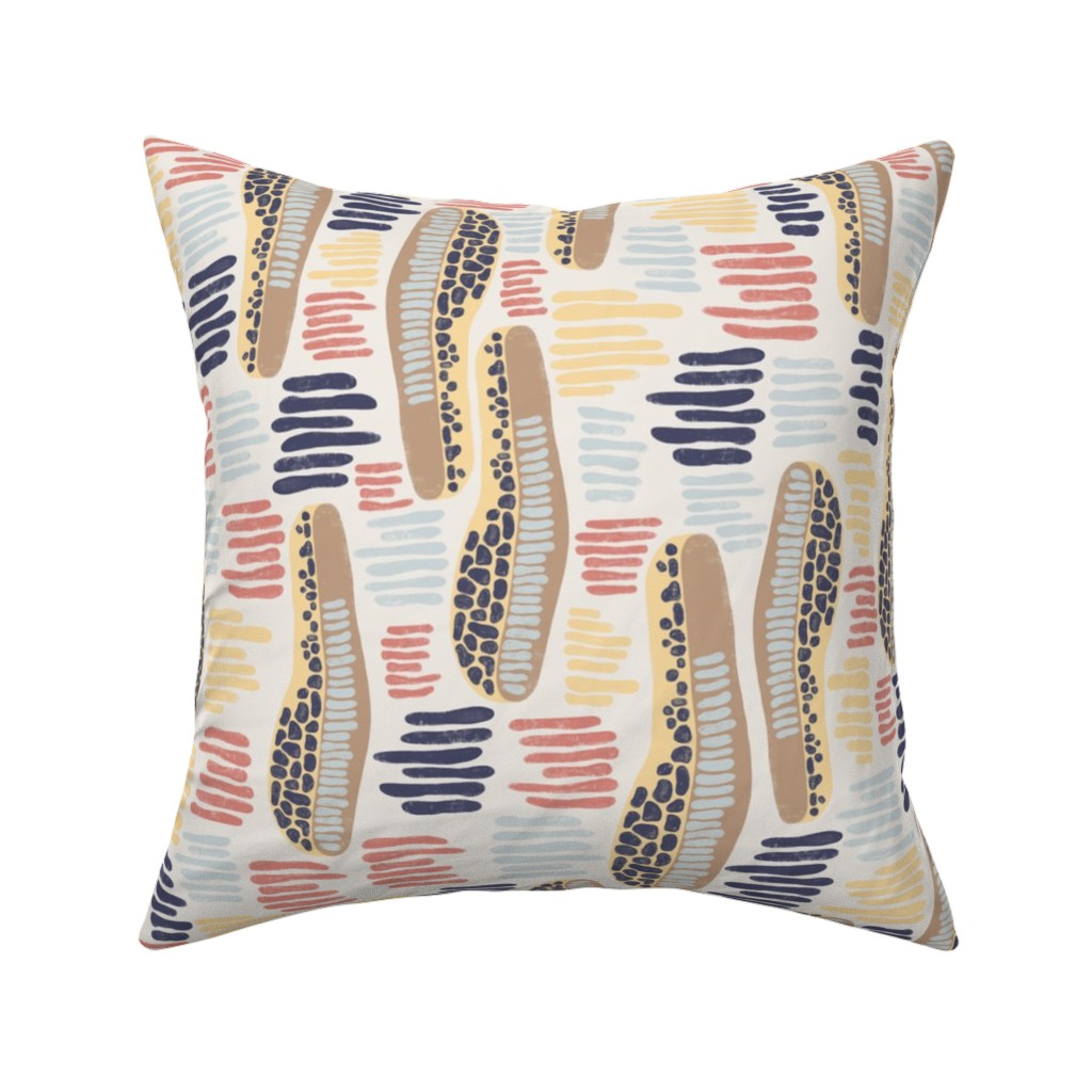 Catalan Throw Pillow featuring Abstract shapes and stripes blue coral yellow on a white background by sandra_hutter_designs