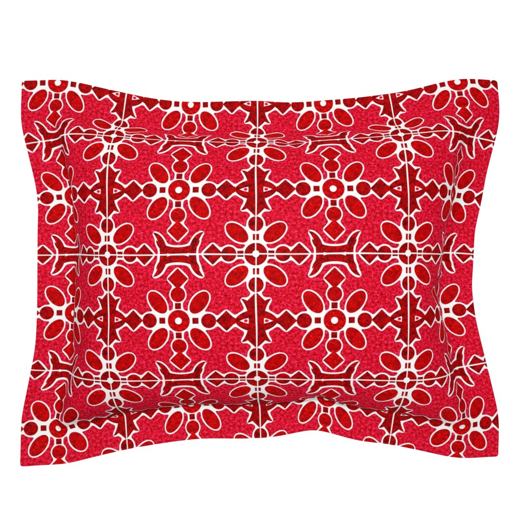Sebright Pillow Sham featuring Marble Mosaic Large Tiles in Red by squishylicious