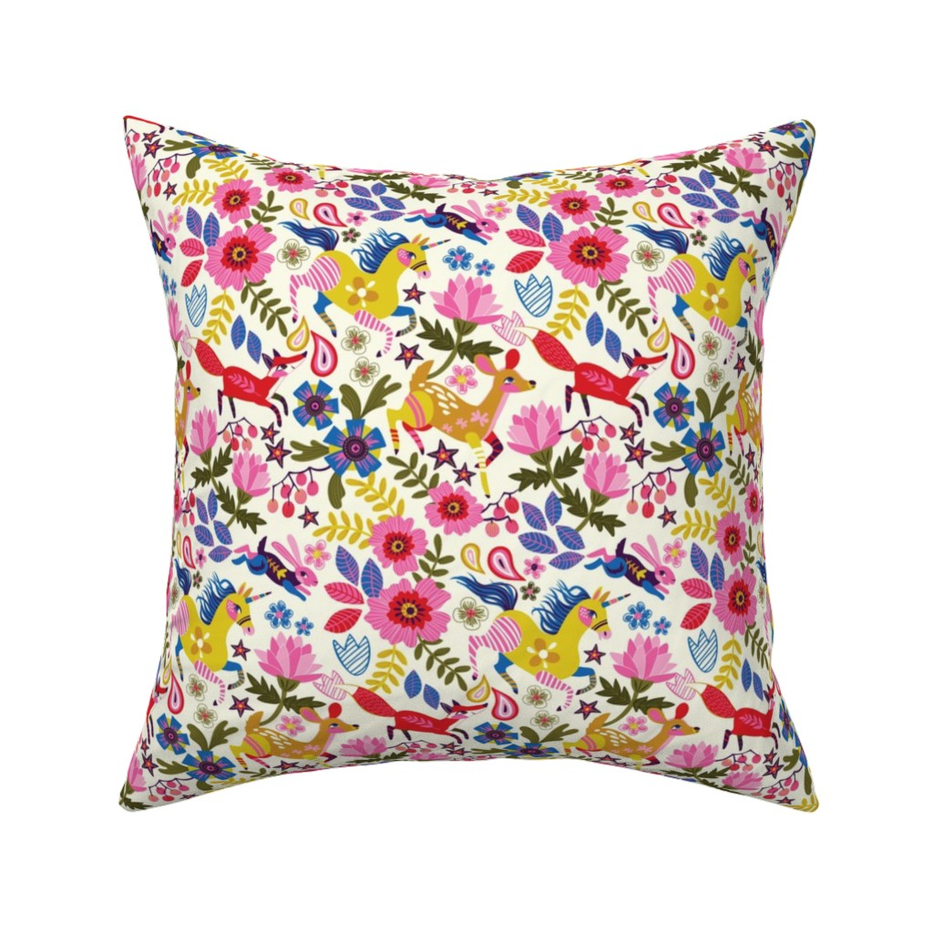 Catalan Throw Pillow featuring Running along with the unicorn by irrimiri