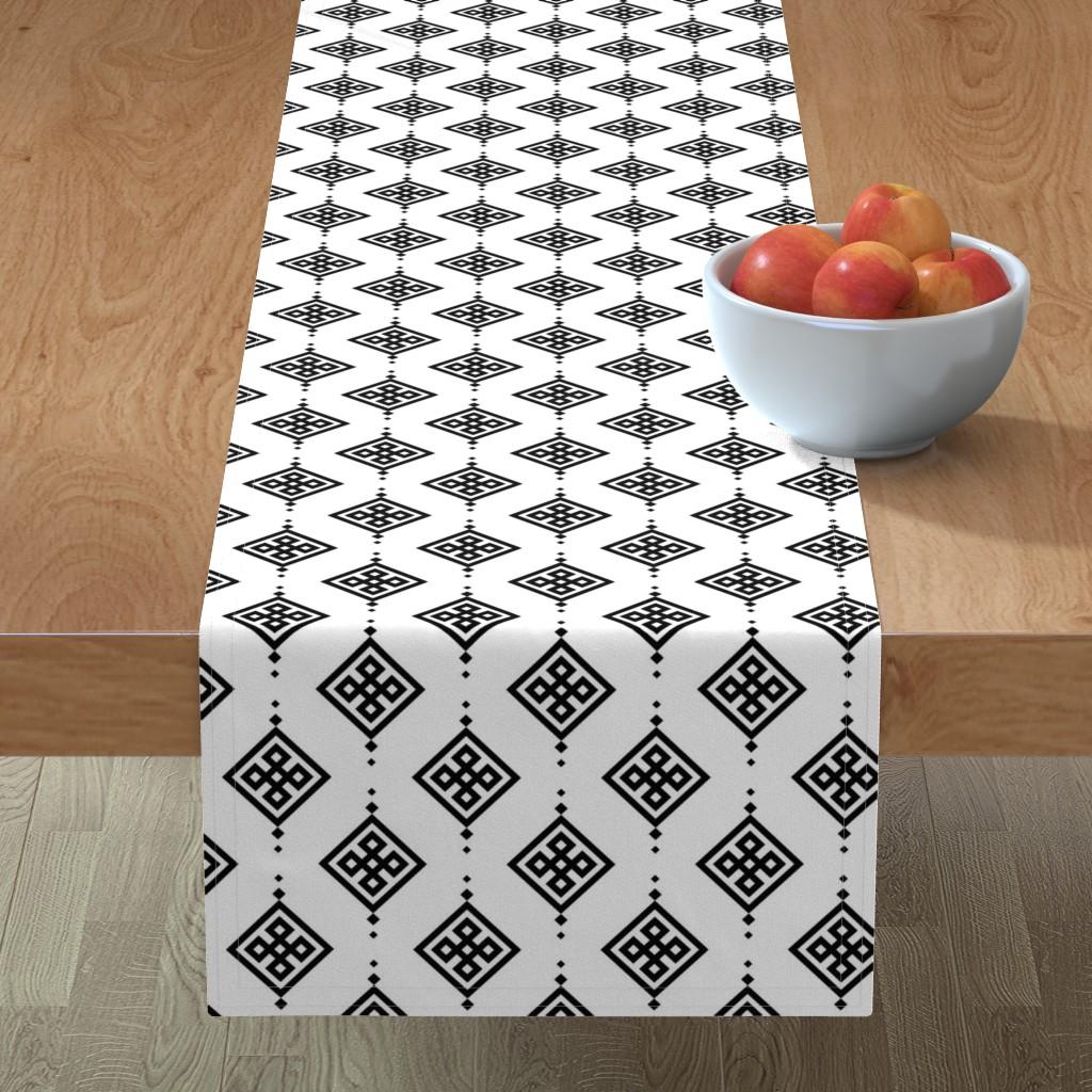 Minorca Table Runner featuring Black geometry by brazhnikova_ekaterina
