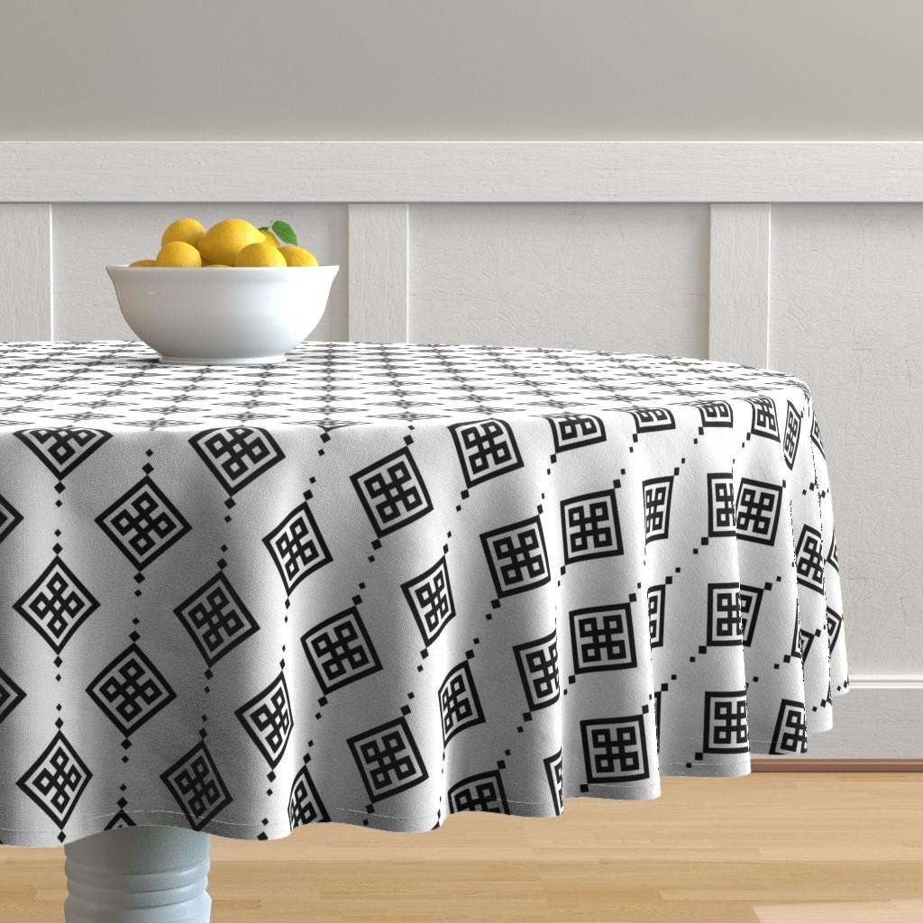 Malay Round Tablecloth featuring Black geometry by brazhnikova_ekaterina