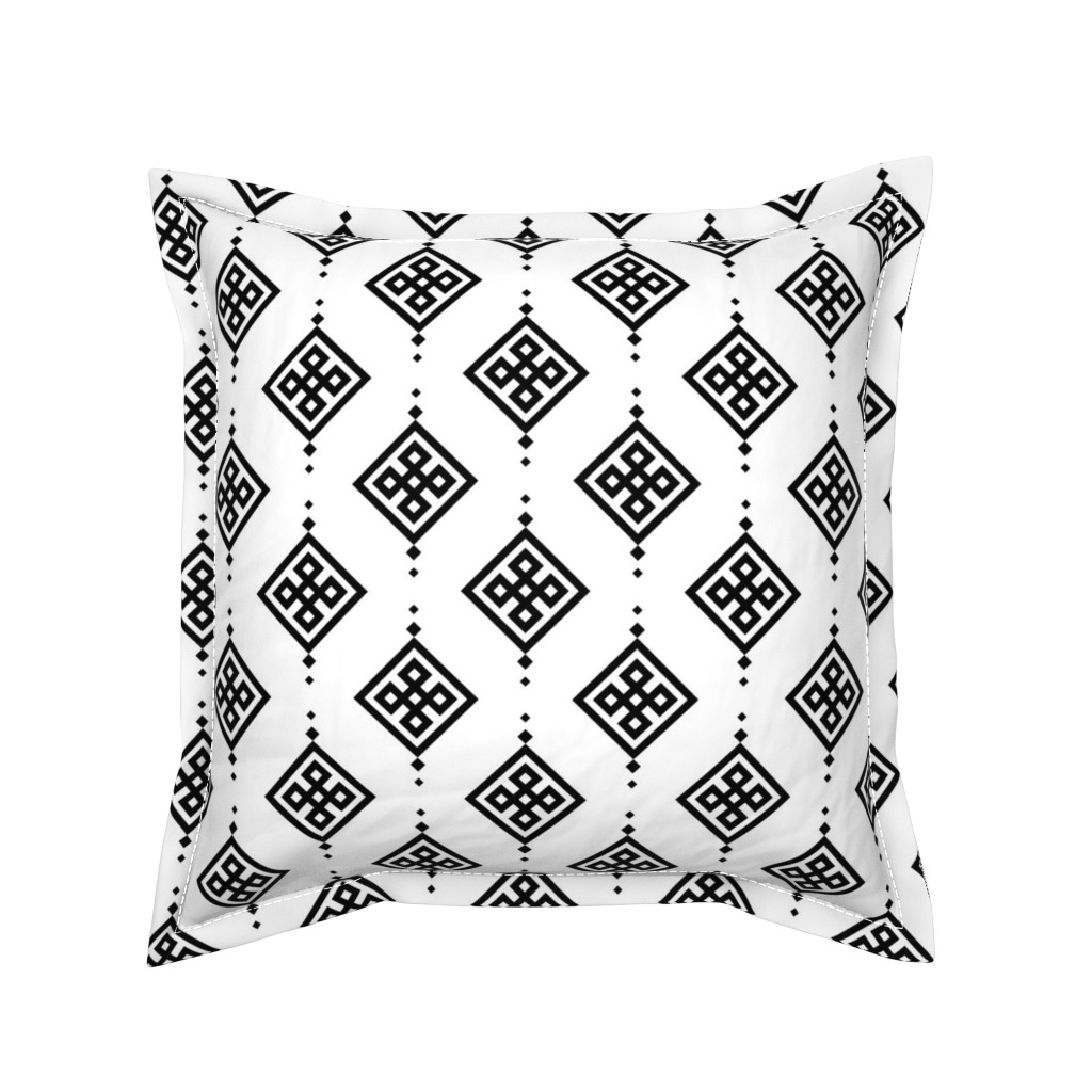 Serama Throw Pillow featuring Black geometry by brazhnikova_ekaterina
