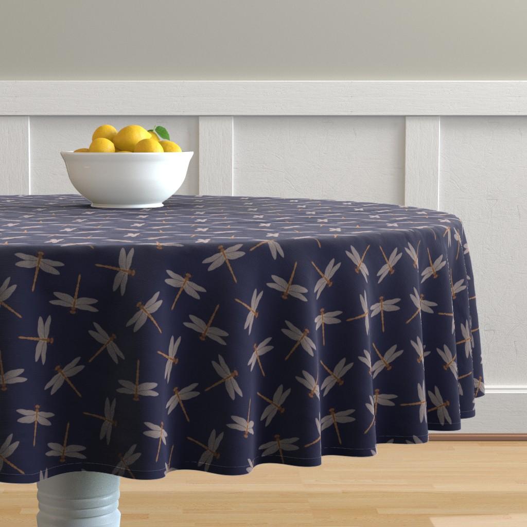 Malay Round Tablecloth featuring Dragonflies by brazhnikova_ekaterina