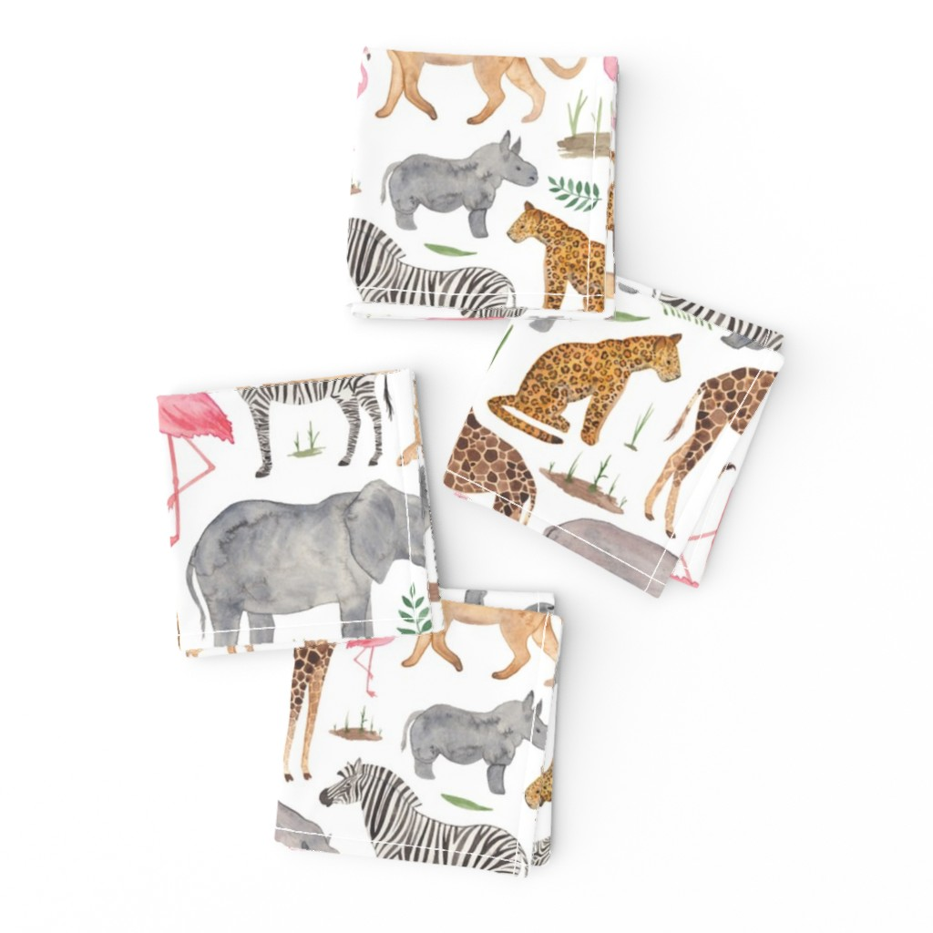 Frizzle Cocktail Napkins featuring African Safari Animals by elena_o'neill_illustration_